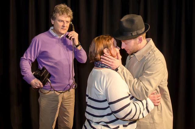 Pictured during rehearsals are David Ryder, Elizabeth Franks and Alex Roberts